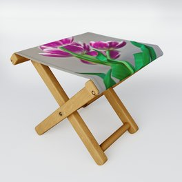 Pink Tulips Folding Stool