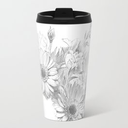 Beautiful flowers, realistic, pencil drawing on paper Travel Mug