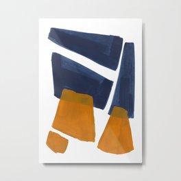 Colorful Minimalist Mid Century Modern Shapes Navy Blue Yellow Ochre Sharp Shapes Metal Print