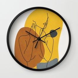 Minimal Line Art Woman Figure III Wall Clock