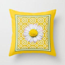 Golden Modern Art Deco Shasta Daisy Pattern Art Throw Pillow