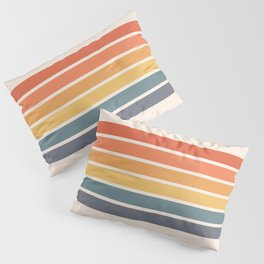 Parama - Classic Colorful 70s Vintage Style Retro Racing Summer Stripes Pillow Sham