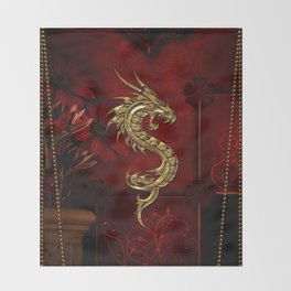 Wonderful golden chinese dragon Throw Blanket