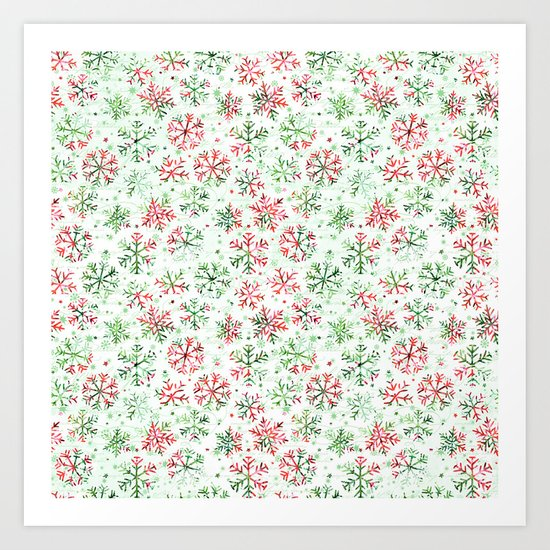 Red Green Snowflakes Art Print