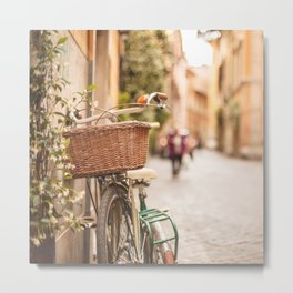 Roma amor - Springtime in Rome, a bicycle in a cobblestone street in the Trastevere Metal Print