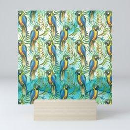 Watercolor blue yellow tropical parrot bird floral Mini Art Print