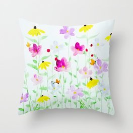 Wildflower meadow Throw Pillow