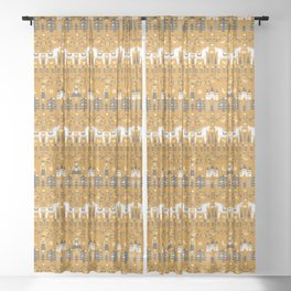 Yellow + Gray Fairy Tale Sheer Curtain
