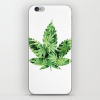 cannabis iPhone & iPod Skins featuring Cannabis Leaf by Teo Sharkson