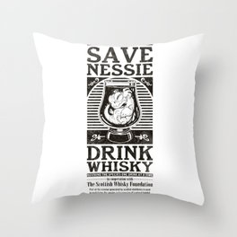 Save Nessie, Drink Whisky! Throw Pillow