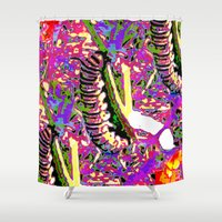 matisse Shower Curtains featuring Matisse Caterpillar by Ellen Turner