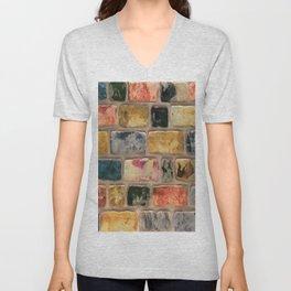 Multi-Colored Brick Wall Decorative Pattern Unisex V-Neck