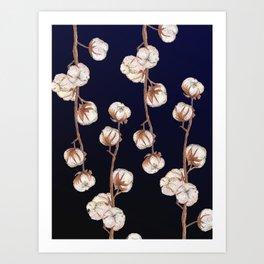 Cotton flower noir Art Print