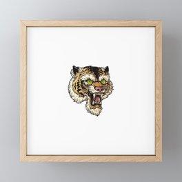 Vector Illustration Head Ferocious Tiger White Background Framed Mini Art Print