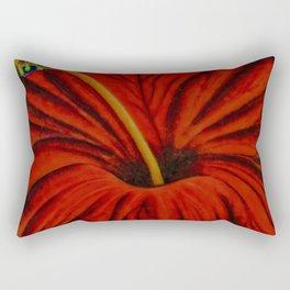 Red Hibiscus Rectangular Pillow