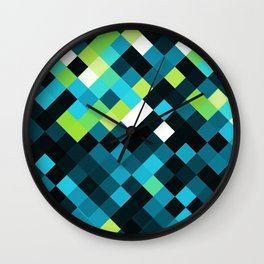 Quoiromantic/Quoisexual Pride Pixelated Angled Squares Wall Clock