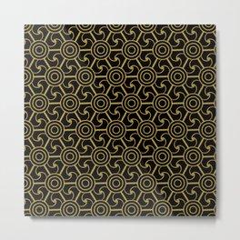 SOLEIL - gold sun motif on black Metal Print