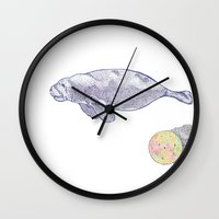 manatee Wall Clocks featuring Space Manatee by Kristin Garcia