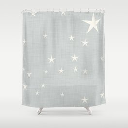 Grey star with fabric texture - narwhal collection Shower Curtain