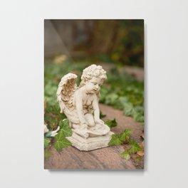Small angel statue kneel Metal Print