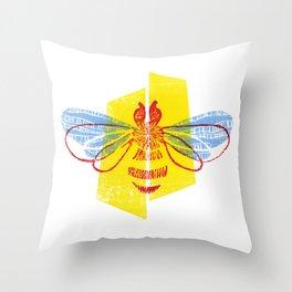 Be Safe - Save Bees linocut Throw Pillow