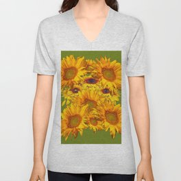Avocado Color Sunflowers Abstract Art Unisex V-Neck