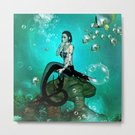 Wonderful dark mermaid in the deep ocean Metal Print