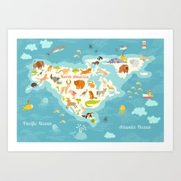 Animals world map, North America. Colorful cartoon vector illustration for children and kids. Presch Art Print