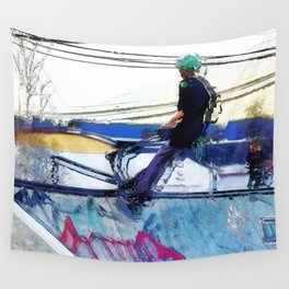 Hanging On  -  Stunt Scooter Artwork Wall Tapestry