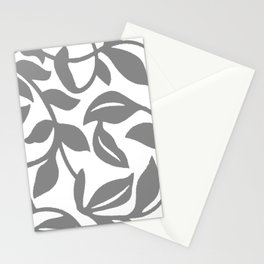 LEAF PALM SWIRL IN GRAY AND WHITE Stationery Cards