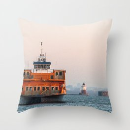 Lighthouse & Staten Island Ferry Throw Pillow