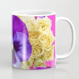 PURPLE PANSY FLOWERS & IVORY ROSES  PINK ART Coffee Mug
