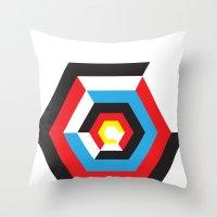 bauhaus Throw Pillows featuring Bauhaus by liz williams