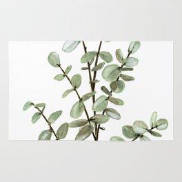 Baby Blue Eucalyptus Watercolor Painting Rug