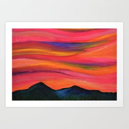TWILIGHT SKY OVER MOURNE MOUNTAINS - Abstract Sky Oil Painting Art Print