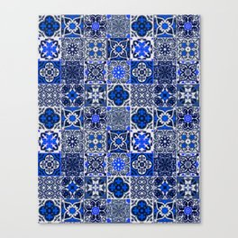 -A34- Blue Traditional Floral Moroccan Tiles. Canvas Print