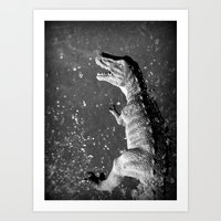 t rex Art Prints featuring t-rex  by Bunny Noir