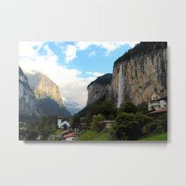 Village in the Mountains - Lauterbrunnen Switzerland Metal Print