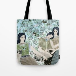 Girls With Pugs Among Roses Tote Bag