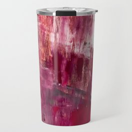 Sunset in the Valley [2]: a colorful abstract piece in reds, pink, gold, gray, and white Travel Mug