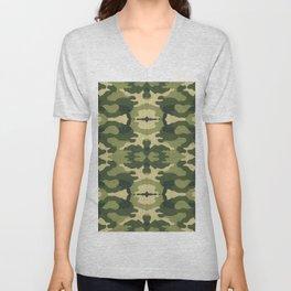 Vintage military clothing camouflage fabric illustration pattern Unisex V-Neck