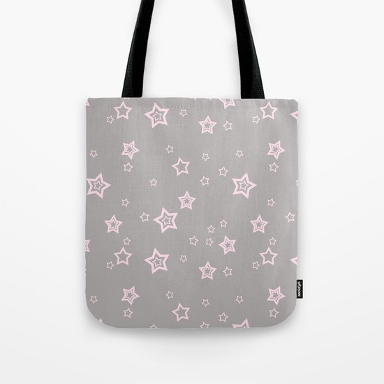 Pink little stars on grey on #Society6 Tote Bag