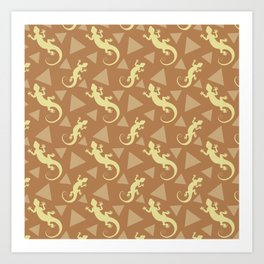 Wild crawling lizards, geometric triangle shapes whimsical ethnic tribal retro vintage warm chocolate brown lizard abstract pattern. Gifts for geometry and animal lovers. Art Print
