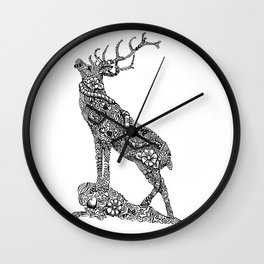Stag Zentangle Wall Clock