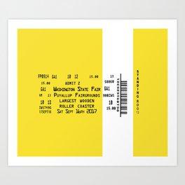 Ticket Stub Largest Wooden Roller Coaster Art Print