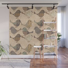 Nostalgic Autumn Patchwork Bird Pattern in warm retro colors #autumndecoration Wall Mural