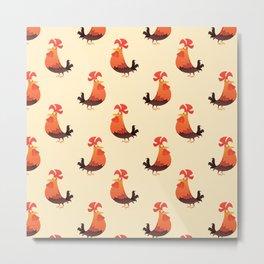 Roosters Pattern Metal Print