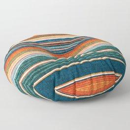 serape southwest stripe - orange & dark teal Floor Pillow