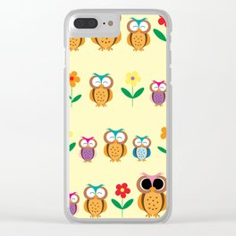 sweet owls patterns Clear iPhone Case