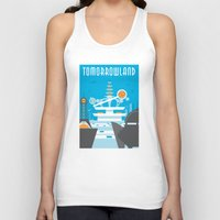 travel poster Tank Tops featuring Tomorrowland Travel Poster by Rob Yeo Design